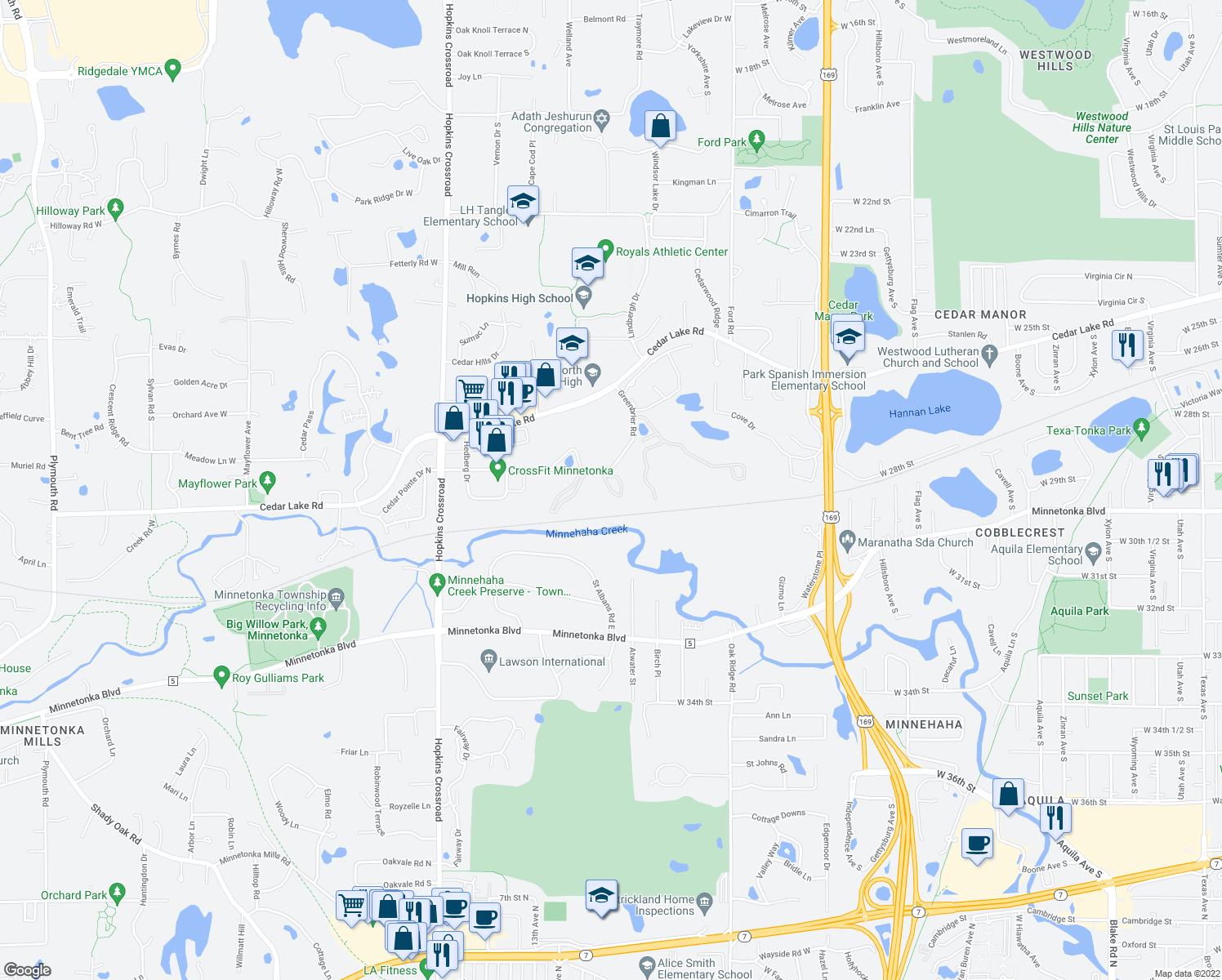 map of restaurants, bars, coffee shops, grocery stores, and more near 10511-10569 Greenbrier Road in Minnetonka