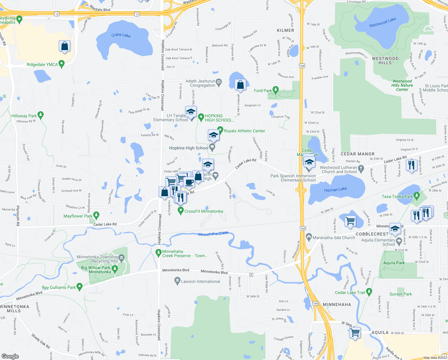 map of restaurants, bars, coffee shops, grocery stores, and more near Cedar Lake Rd & Greenbrier Rd in Minnetonka