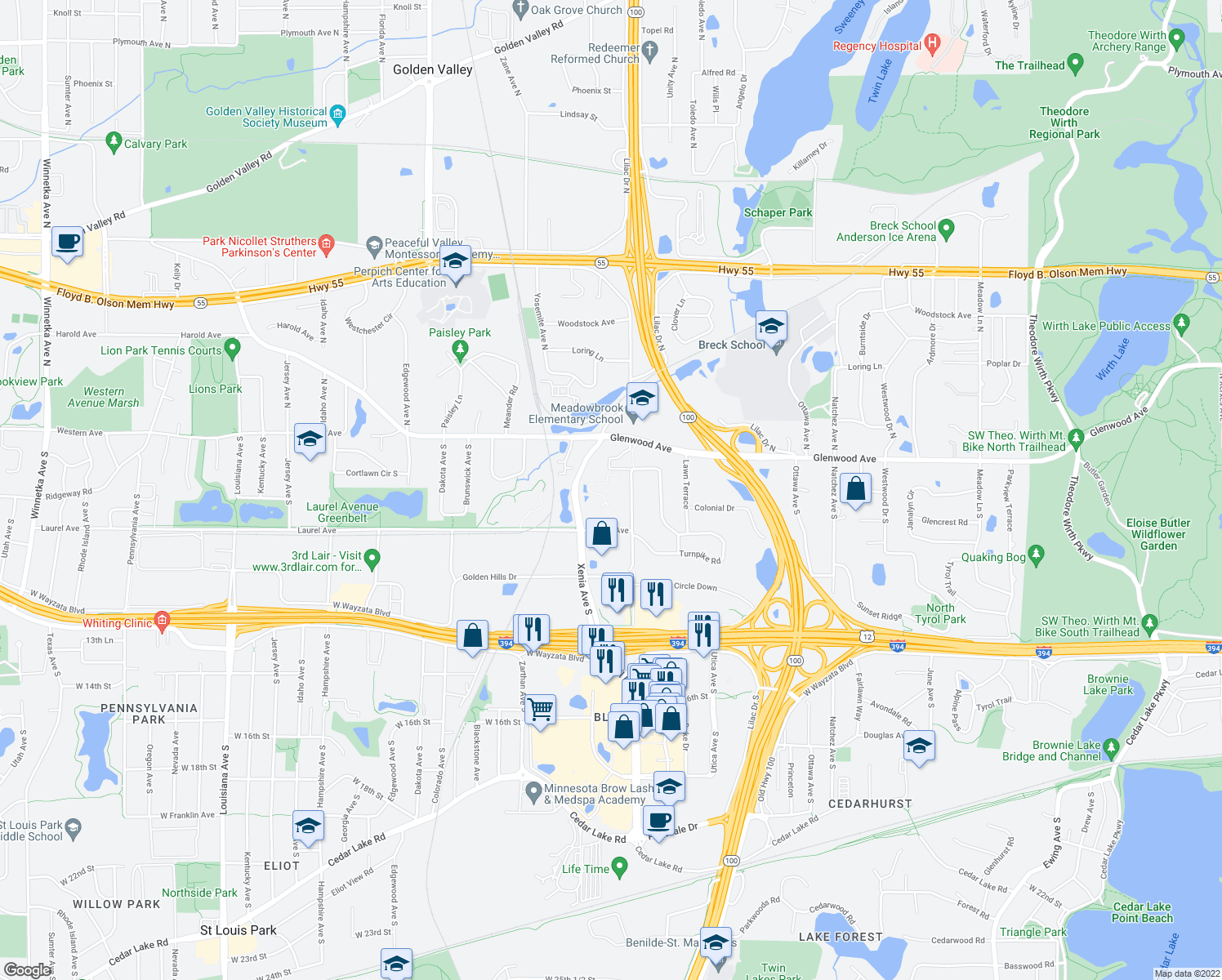 map of restaurants, bars, coffee shops, grocery stores, and more near 250 Turners Crossroad S in Golden Valley