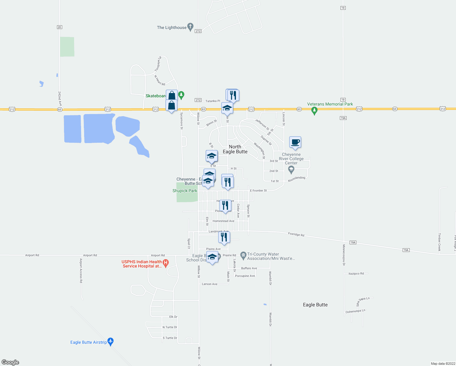 map of restaurants, bars, coffee shops, grocery stores, and more near 49-56 Main Street in Eagle Butte