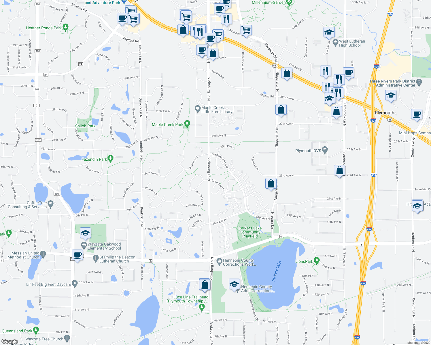 map of restaurants, bars, coffee shops, grocery stores, and more near 24th Avenue North in Plymouth