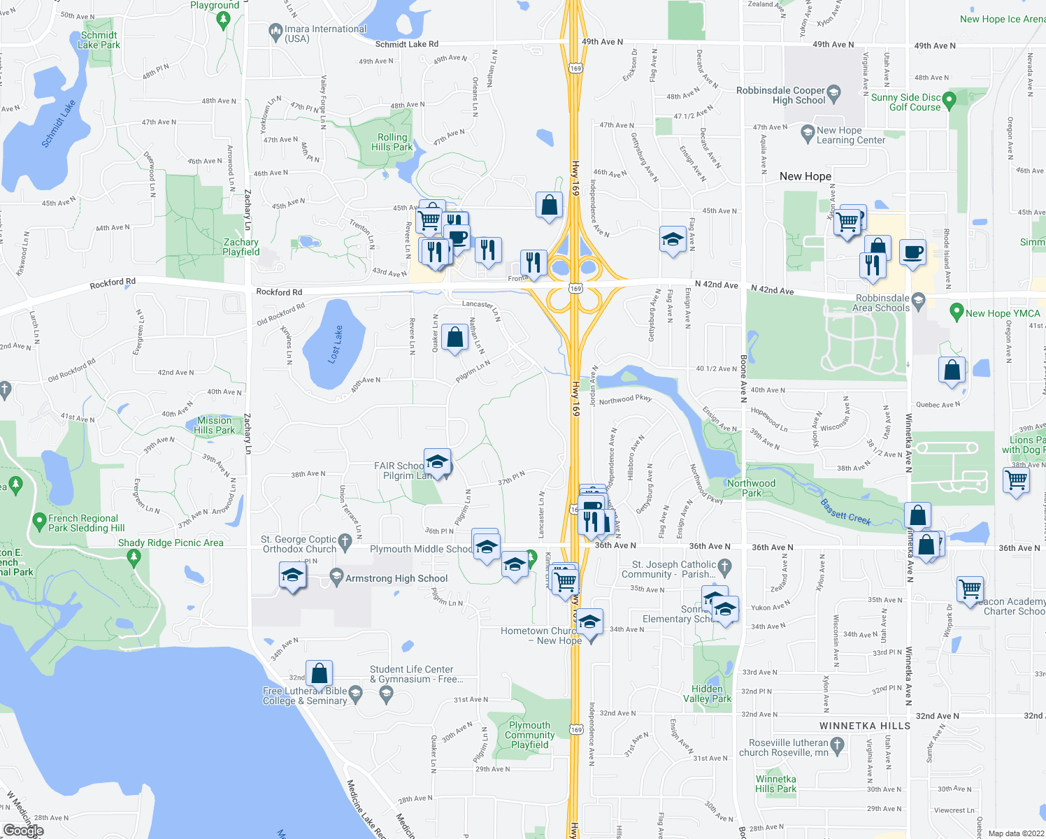 map of restaurants, bars, coffee shops, grocery stores, and more near 3925 Lancaster Lane North in Plymouth