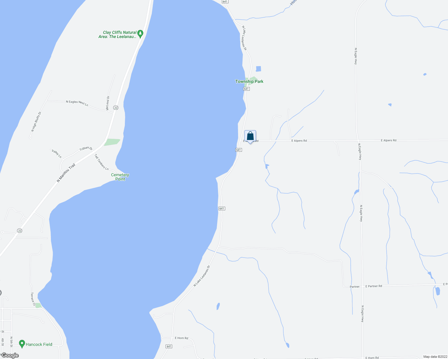 map of restaurants, bars, coffee shops, grocery stores, and more near 3733 North Lake Leelanau Drive in Lake Leelanau
