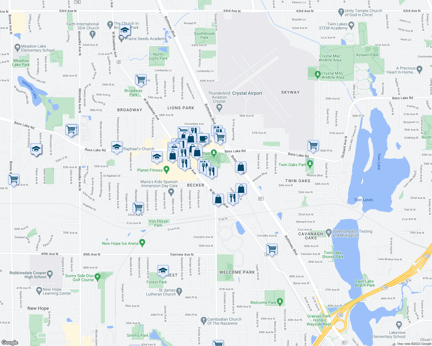 map of restaurants, bars, coffee shops, grocery stores, and more near 5576-5598 Douglas Drive North in Crystal