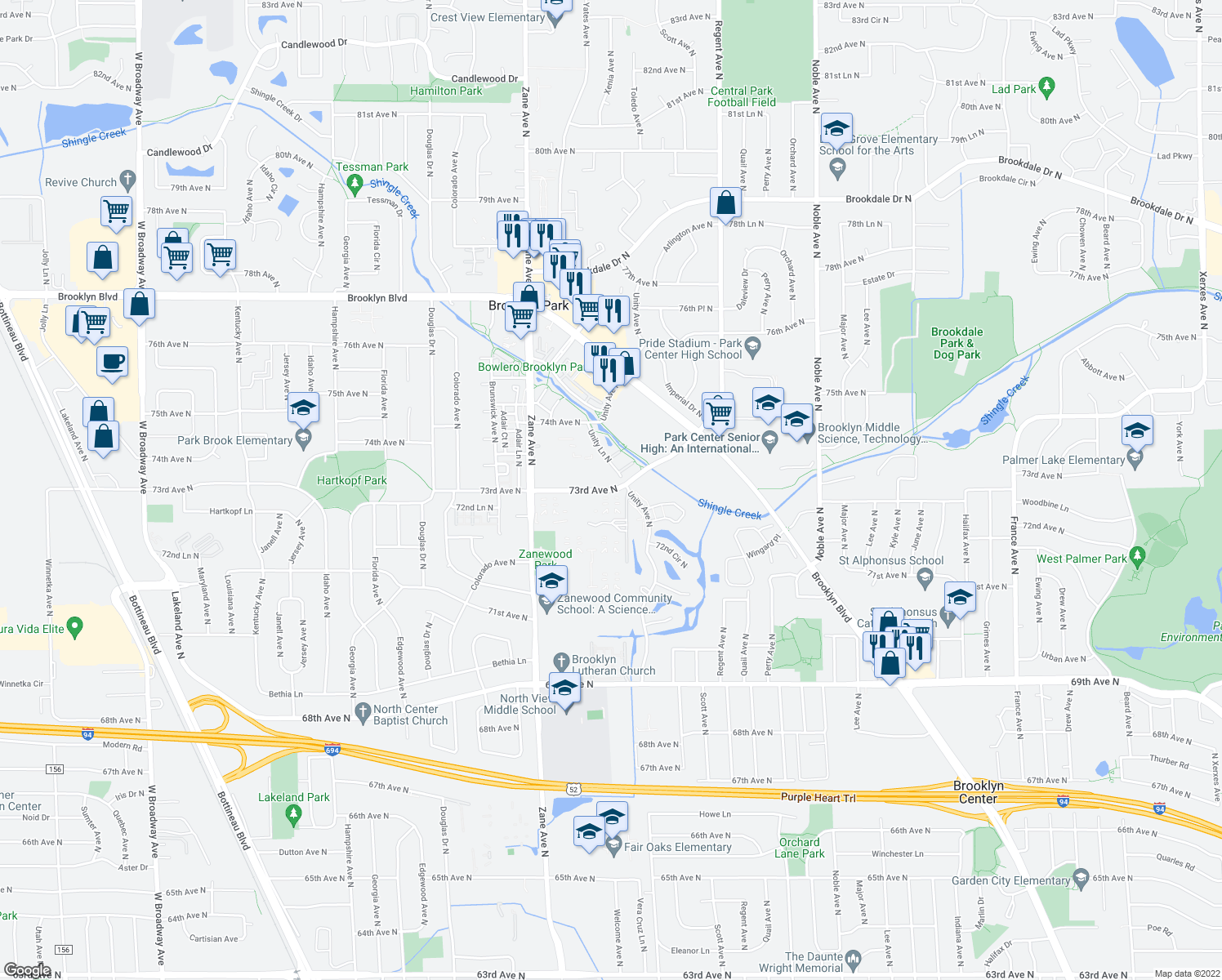 map of restaurants, bars, coffee shops, grocery stores, and more near 5805 73rd Avenue North in Minneapolis