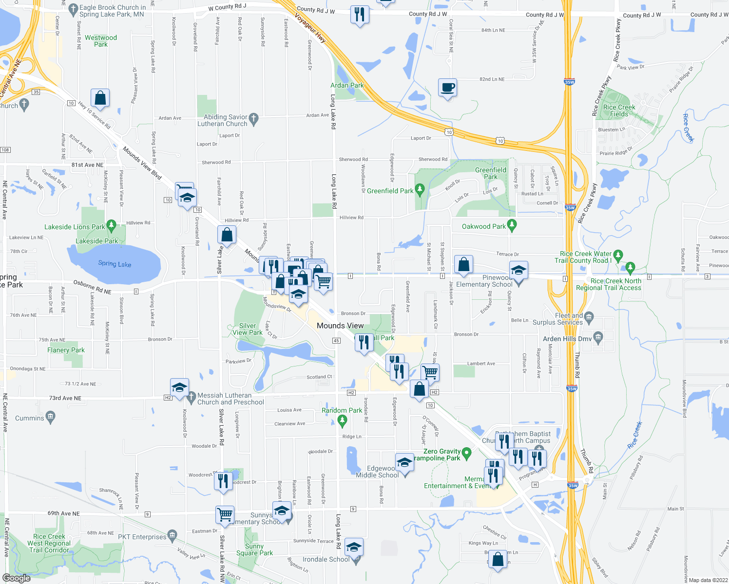 map of restaurants, bars, coffee shops, grocery stores, and more near 7639 Woodlawn Drive in Mounds View