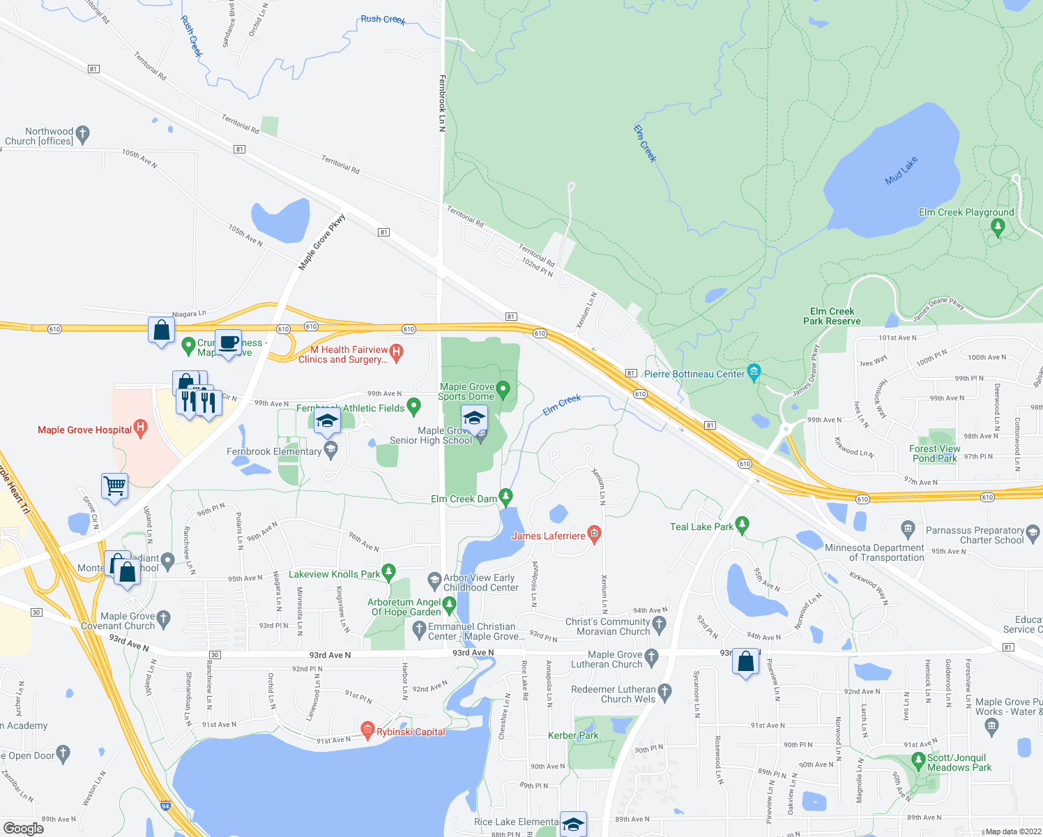 map of restaurants, bars, coffee shops, grocery stores, and more near Medicine Lake Regional Trail in Maple Grove