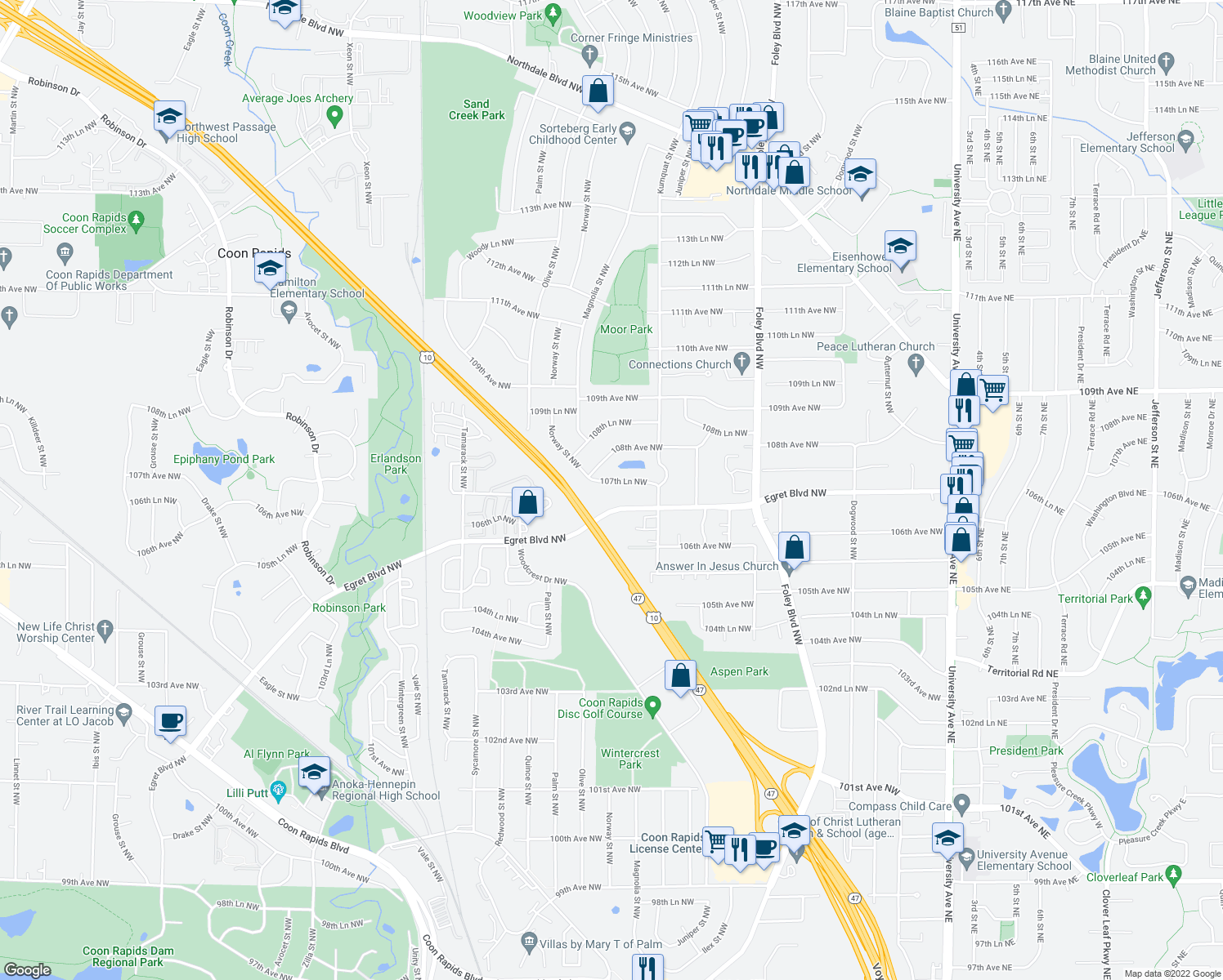 map of restaurants, bars, coffee shops, grocery stores, and more near 741 107th Lane Northwest in Coon Rapids