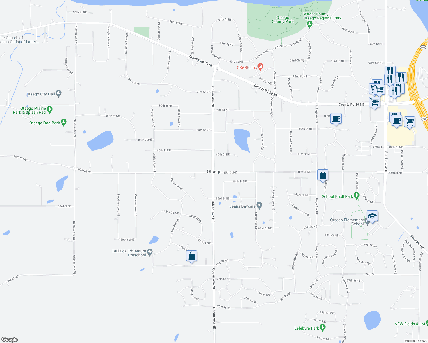 map of restaurants, bars, coffee shops, grocery stores, and more near in Otsego