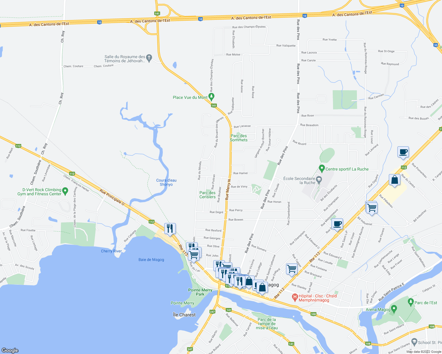 map of restaurants, bars, coffee shops, grocery stores, and more near 863 Rue Bouhier in Magog