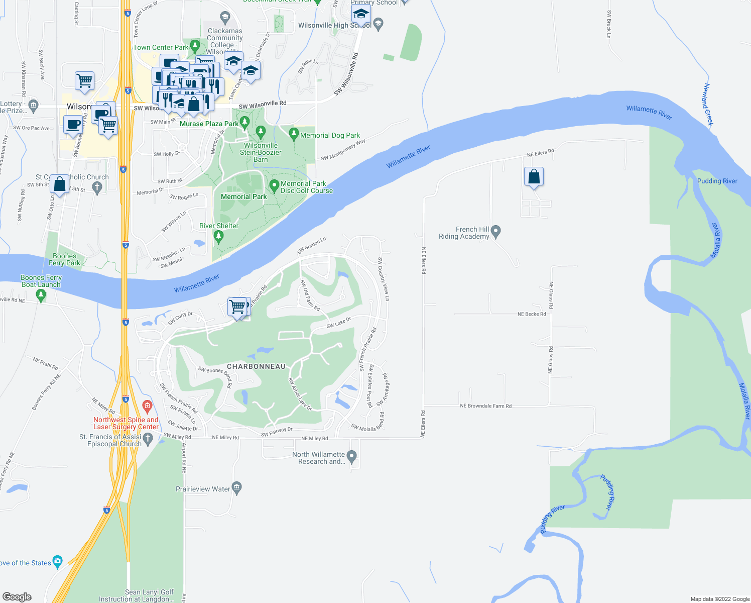 map of restaurants, bars, coffee shops, grocery stores, and more near 31640 Southwest Village Crest Court in Wilsonville