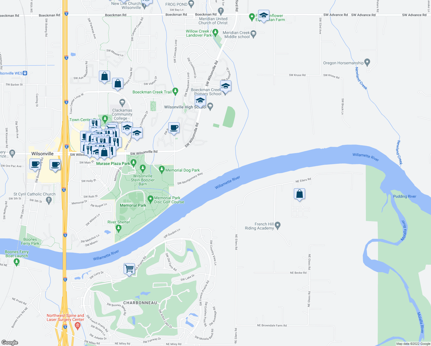 map of restaurants, bars, coffee shops, grocery stores, and more near 6840 Southwest Montgomery Way in Wilsonville