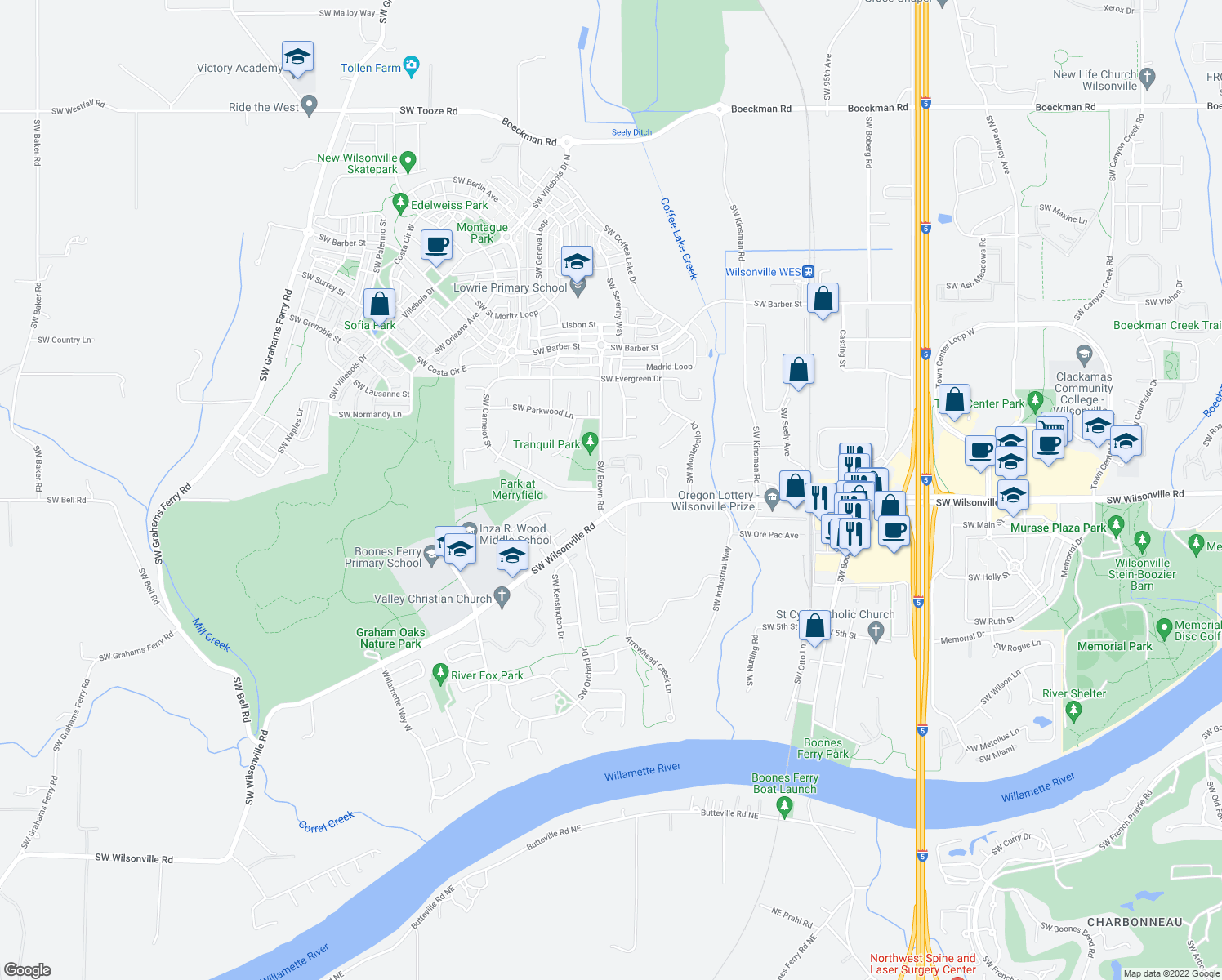 map of restaurants, bars, coffee shops, grocery stores, and more near 29940 Southwest Brown Road in Wilsonville