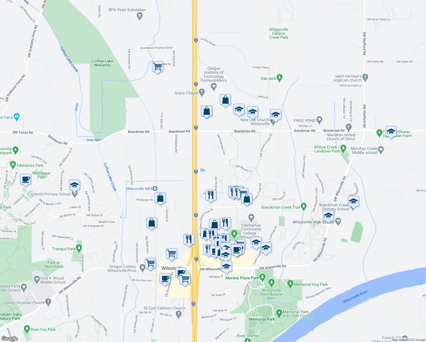 map of restaurants, bars, coffee shops, grocery stores, and more near 28623 Greenway Drive in Wilsonville