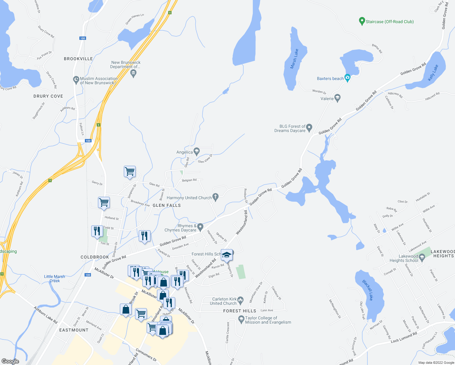 map of restaurants, bars, coffee shops, grocery stores, and more near 19-23 Reading Crescent in Saint John