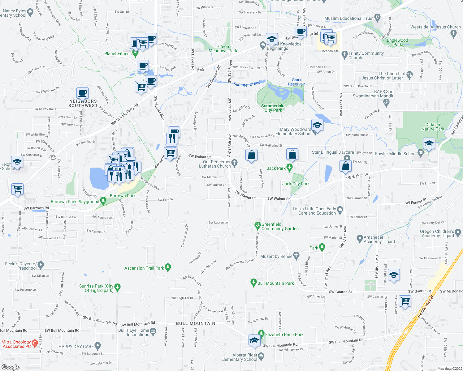 map of restaurants, bars, coffee shops, grocery stores, and more near SW Walnut St & SW 135th Ave in Tigard