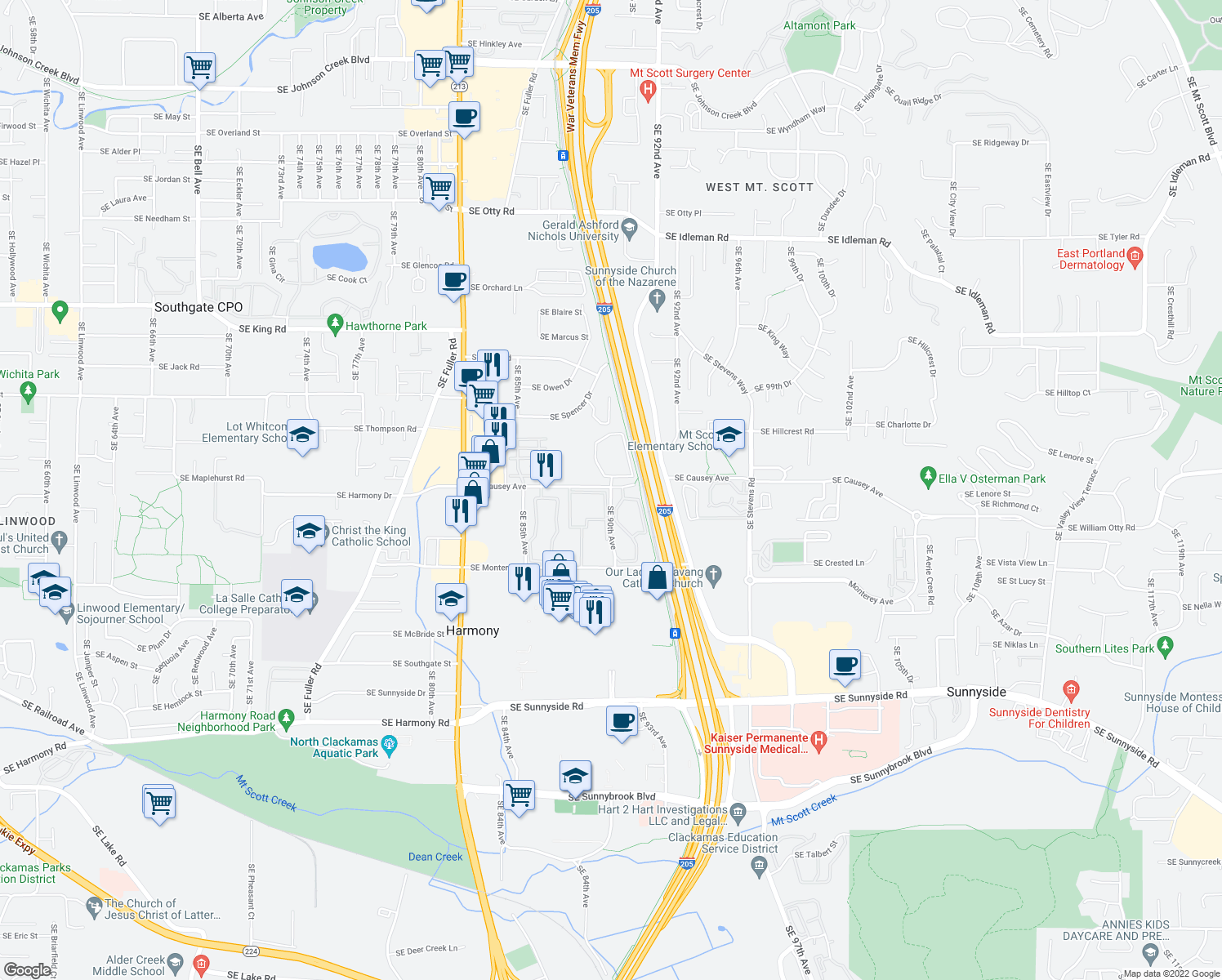 map of restaurants, bars, coffee shops, grocery stores, and more near 11400 Southeast 90th Avenue in Happy Valley