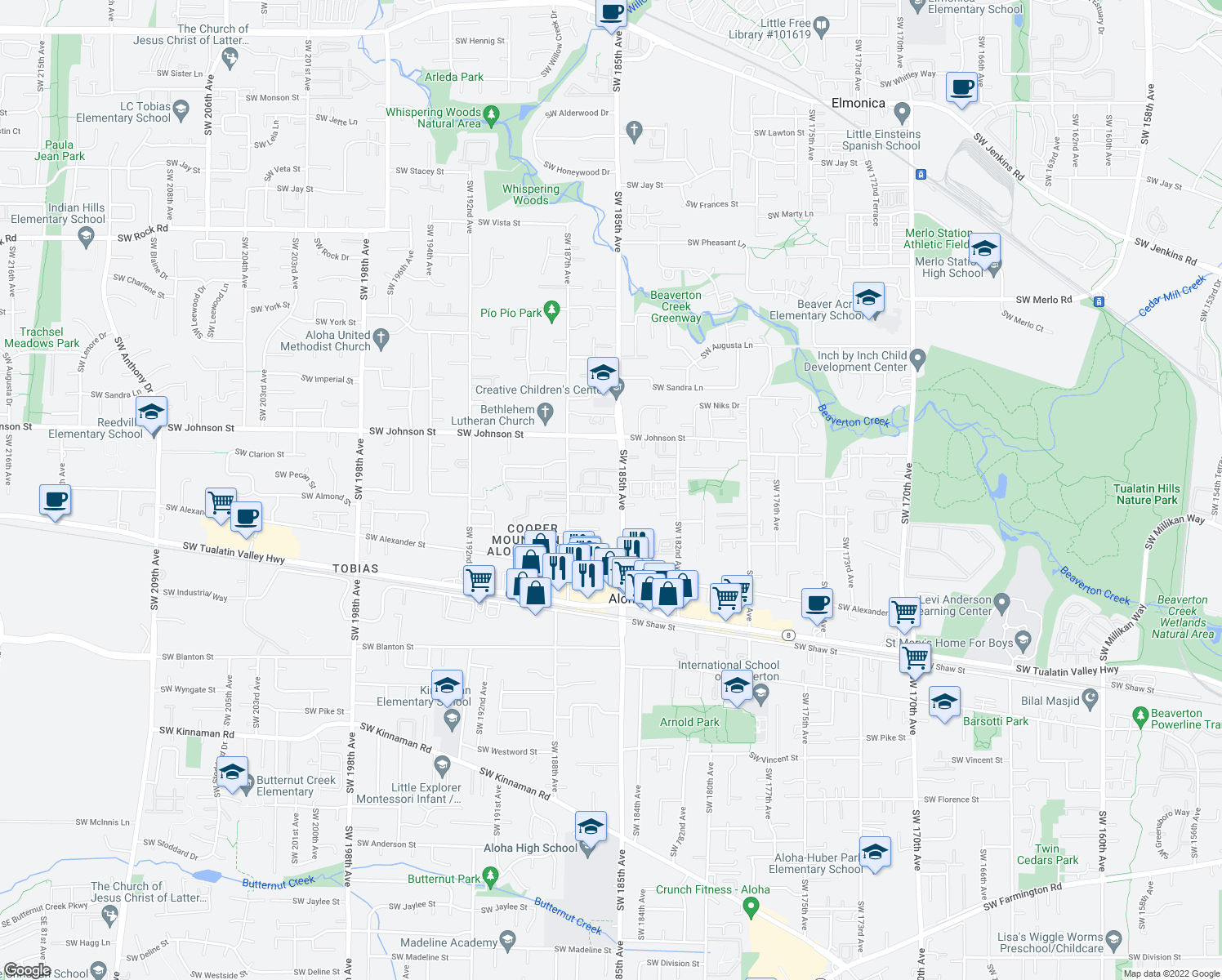 map of restaurants, bars, coffee shops, grocery stores, and more near in Aloha