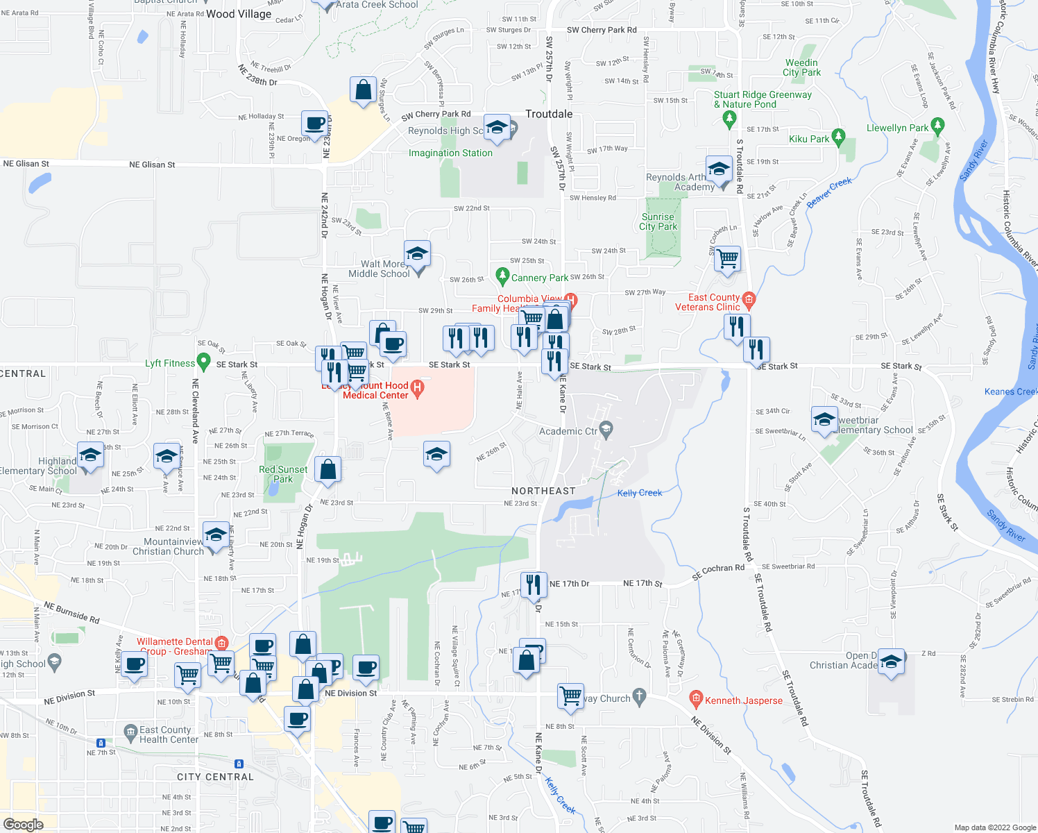 map of restaurants, bars, coffee shops, grocery stores, and more near 2925 Northeast Hale Avenue in Gresham