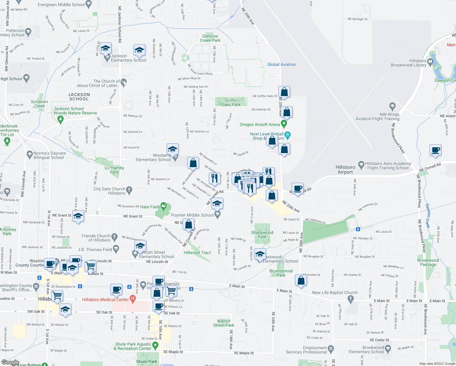 map of restaurants, bars, coffee shops, grocery stores, and more near 1729 Northeast Cornell Road in Hillsboro