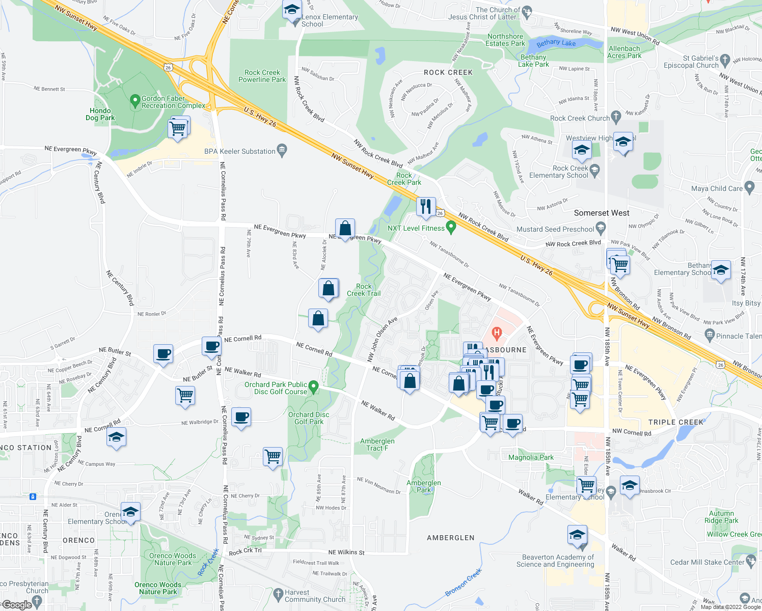 map of restaurants, bars, coffee shops, grocery stores, and more near 3001 Northwest Ashford Circle in Hillsboro