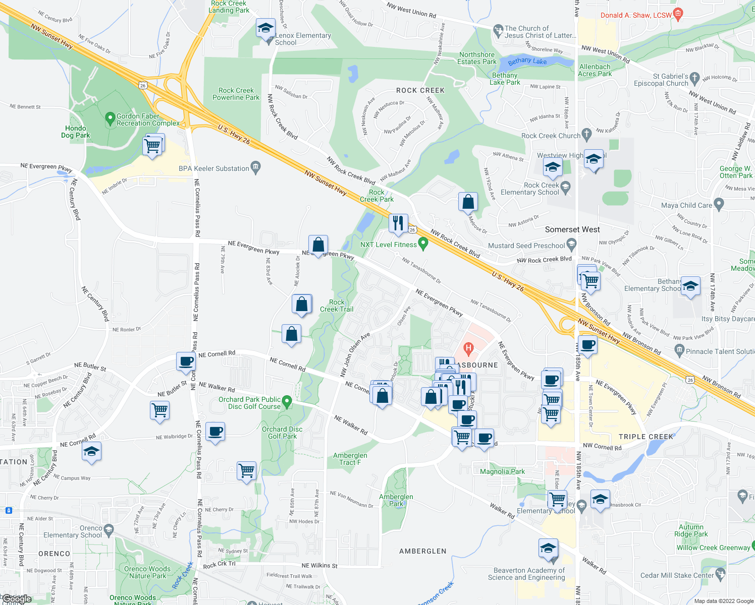 map of restaurants, bars, coffee shops, grocery stores, and more near 3009 Northwest Overlook Drive in Hillsboro
