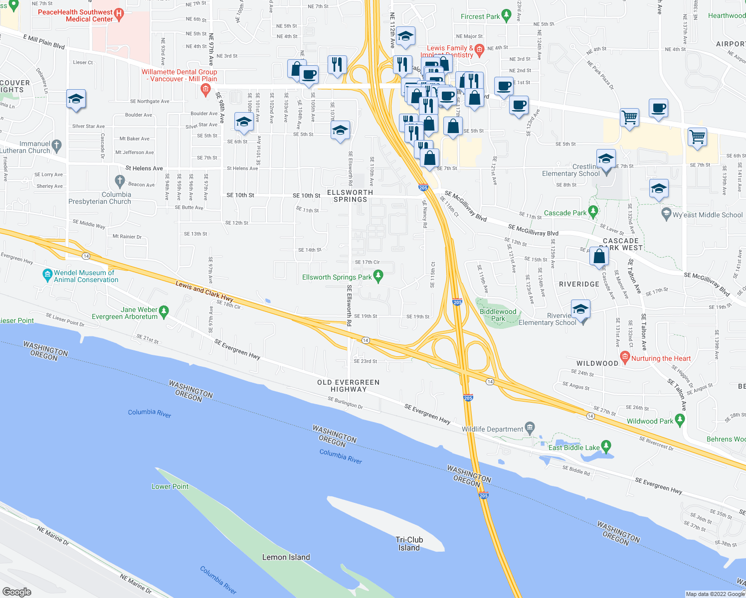 map of restaurants, bars, coffee shops, grocery stores, and more near Southeast 18th Street in Vancouver
