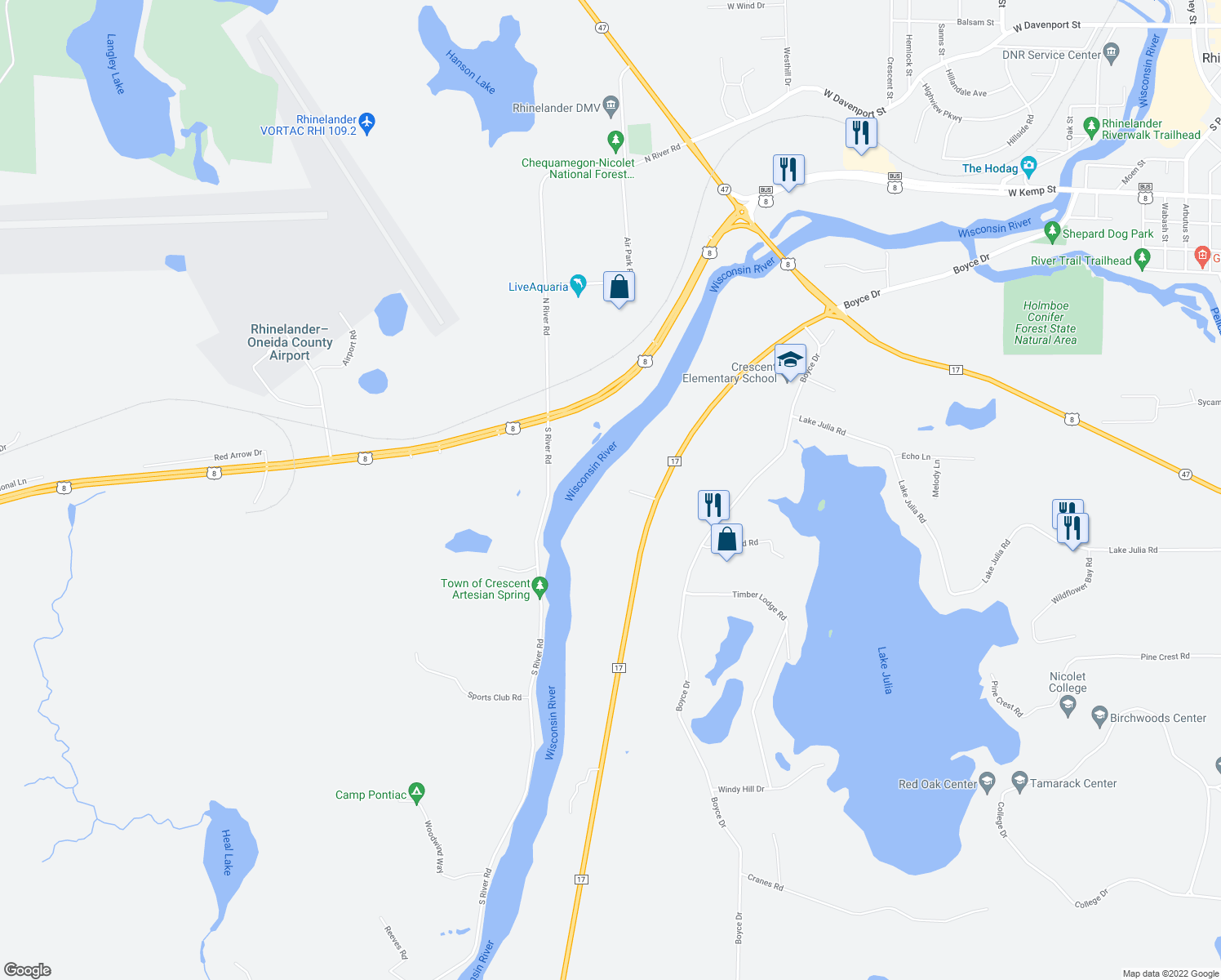 map of restaurants, bars, coffee shops, grocery stores, and more near in Rhinelander