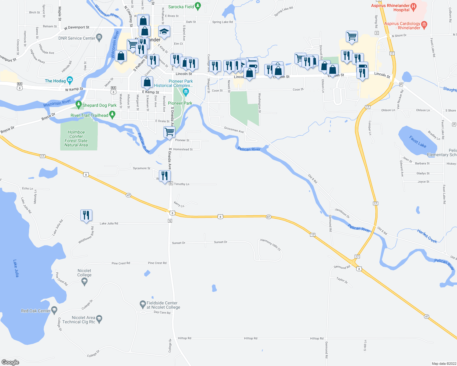 map of restaurants, bars, coffee shops, grocery stores, and more near Timothy Lane in Rhinelander