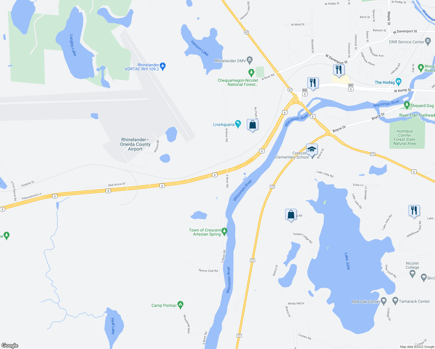 map of restaurants, bars, coffee shops, grocery stores, and more near 5813 U.S. 8 in Rhinelander