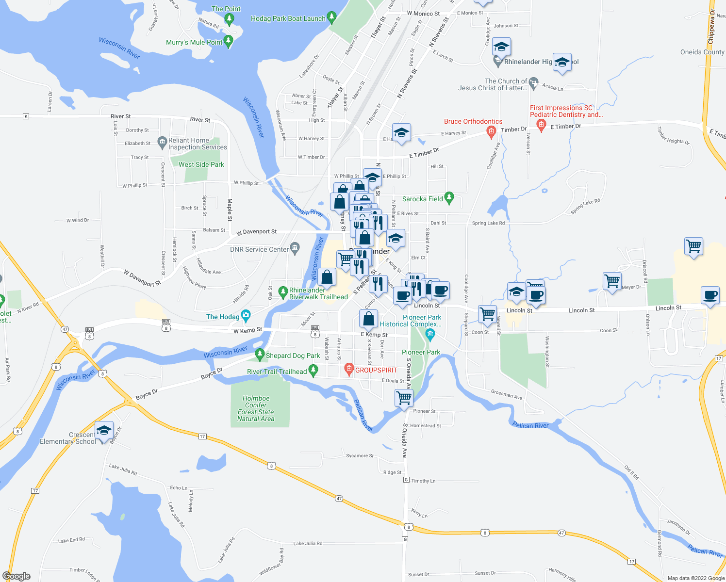map of restaurants, bars, coffee shops, grocery stores, and more near 21 Randall Avenue in Rhinelander