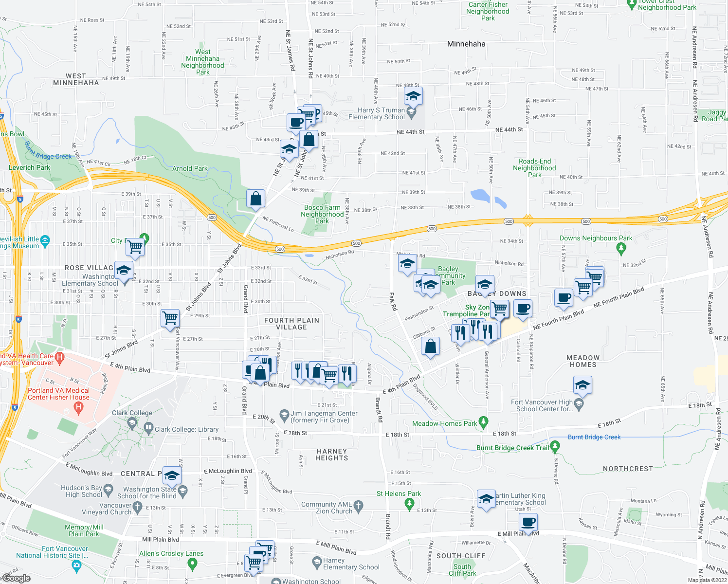 map of restaurants, bars, coffee shops, grocery stores, and more near 3100 Falk Road in Vancouver