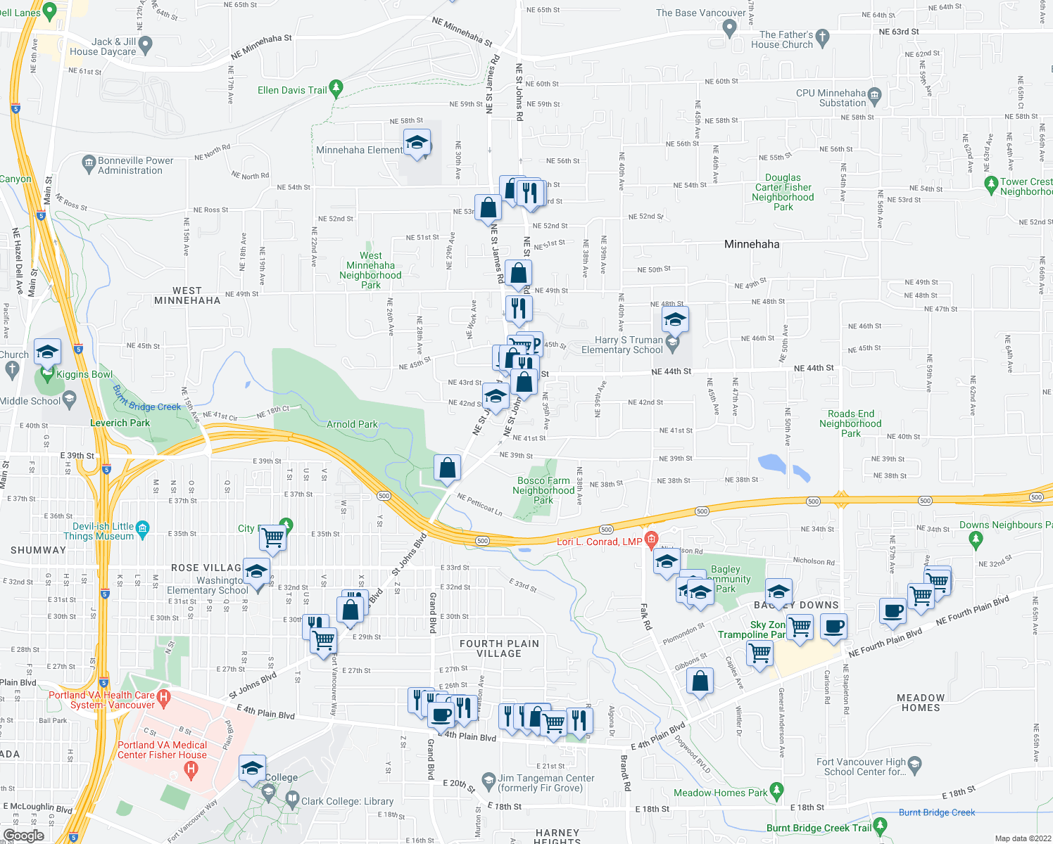 map of restaurants, bars, coffee shops, grocery stores, and more near 4105 Northeast Saint Johns Road in Vancouver