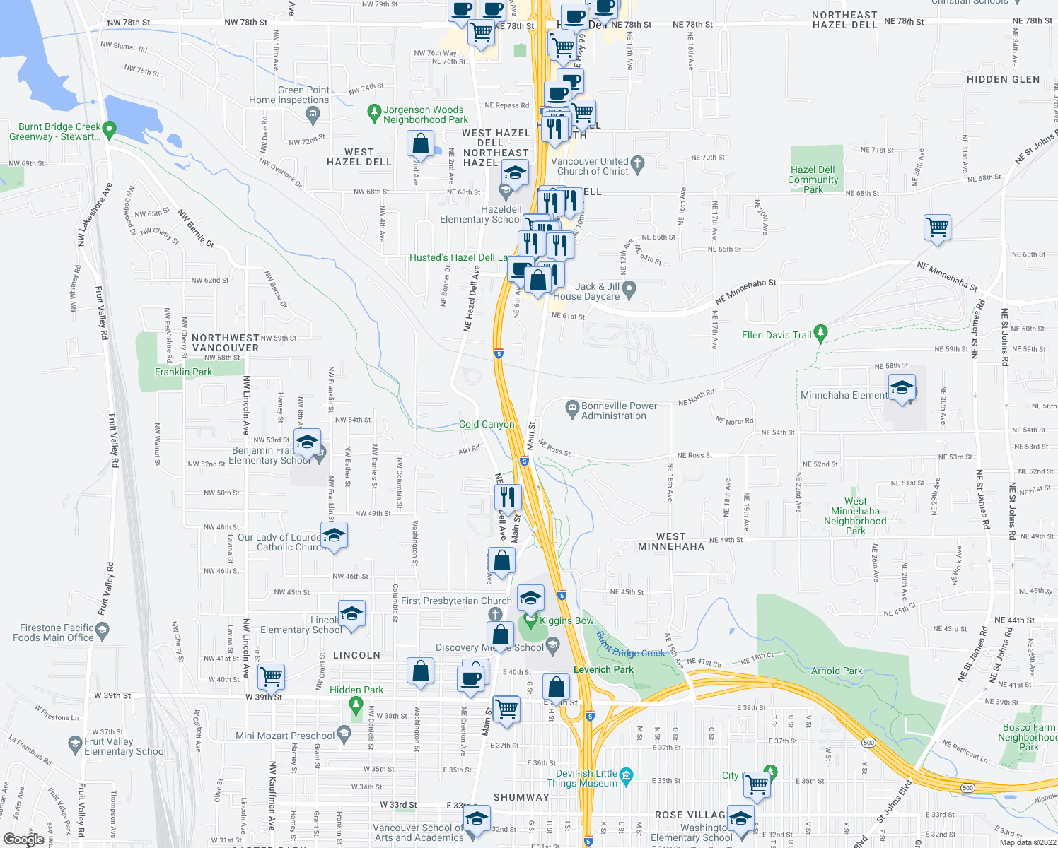 map of restaurants, bars, coffee shops, grocery stores, and more near 5322 Main Street in Vancouver