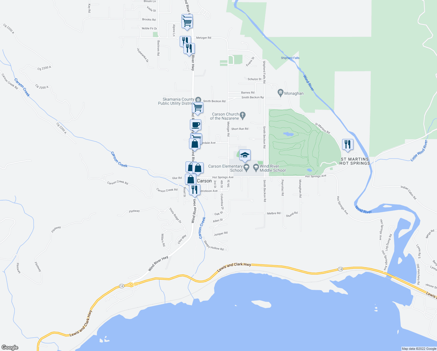 map of restaurants, bars, coffee shops, grocery stores, and more near 151 Hot Springs Avenue in Carson