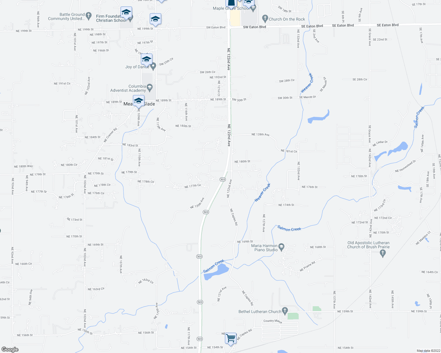 map of restaurants, bars, coffee shops, grocery stores, and more near 0 Highway 503 in Battle Ground
