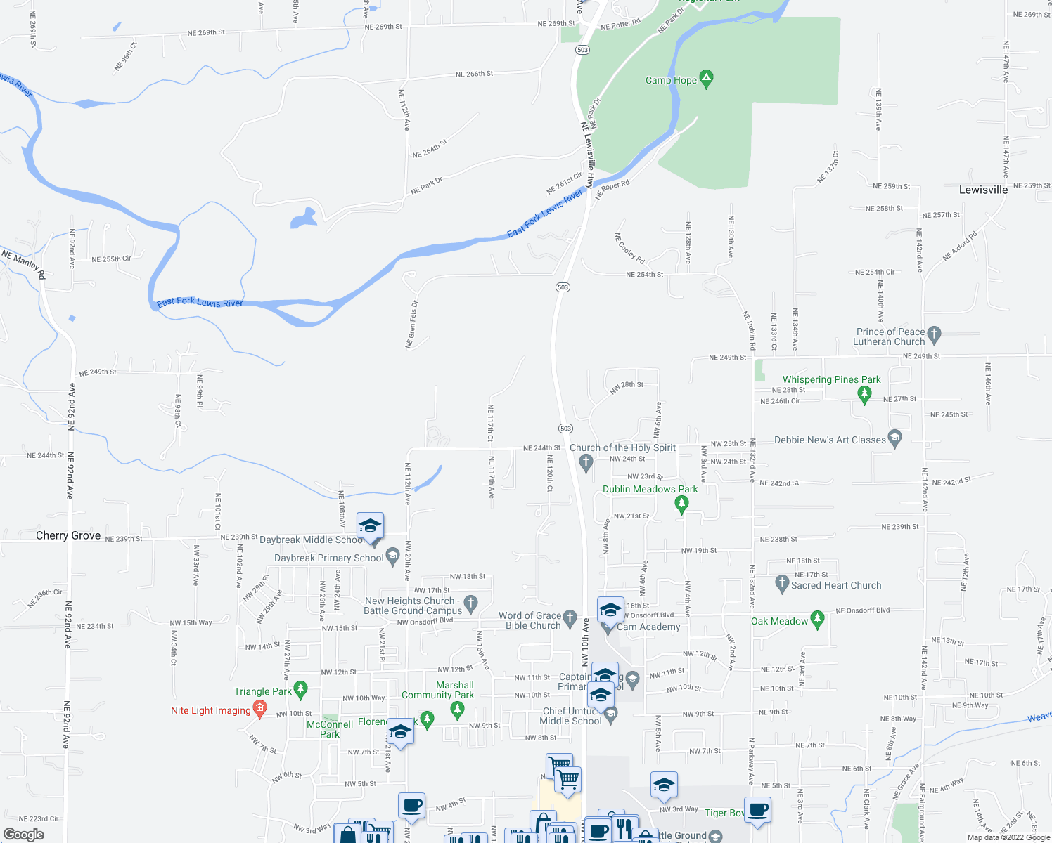 map of restaurants, bars, coffee shops, grocery stores, and more near 30736 NE Lewisville Hwy in Battle Ground