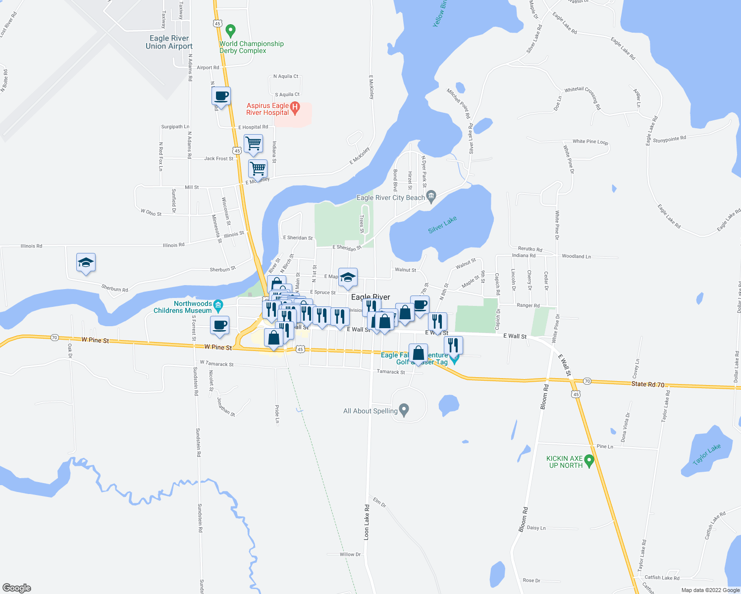 map of restaurants, bars, coffee shops, grocery stores, and more near in Eagle River