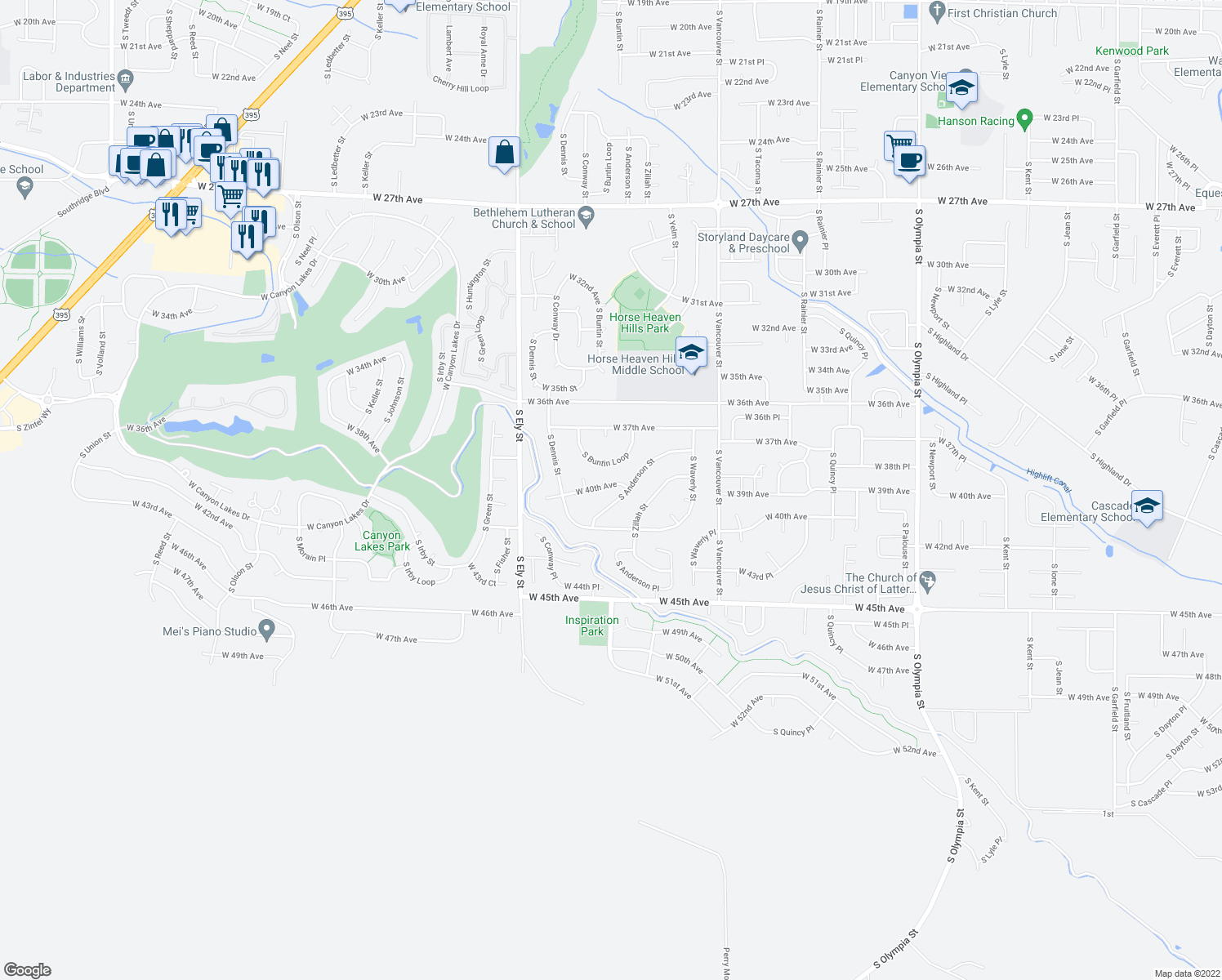 map of restaurants, bars, coffee shops, grocery stores, and more near 2407 West 40th Avenue in Kennewick