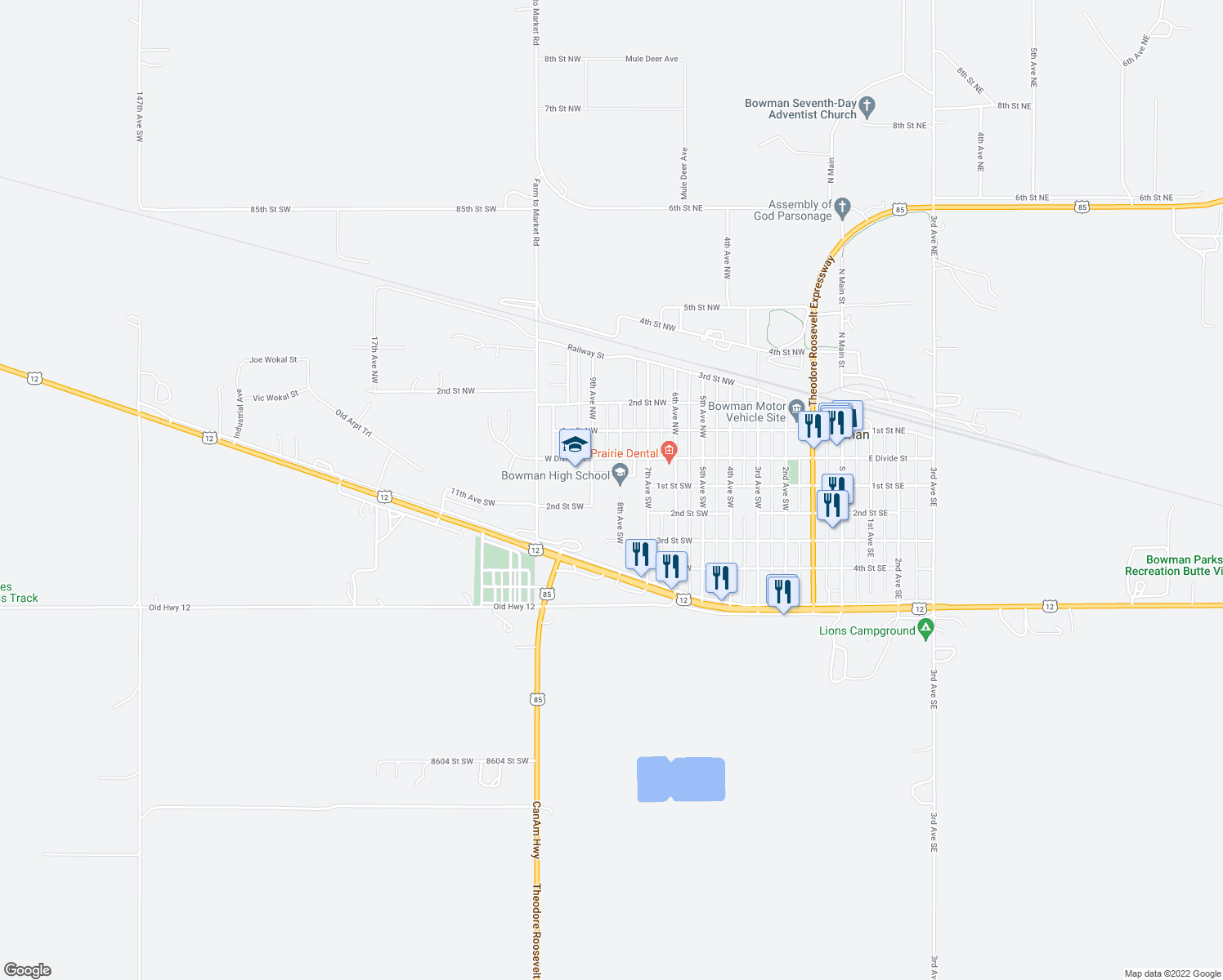 map of restaurants, bars, coffee shops, grocery stores, and more near 200-298 8th Avenue Southwest in Bowman