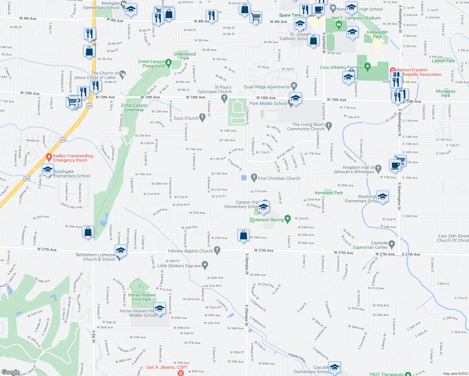 map of restaurants, bars, coffee shops, grocery stores, and more near 1508 West 21st Avenue in Kennewick