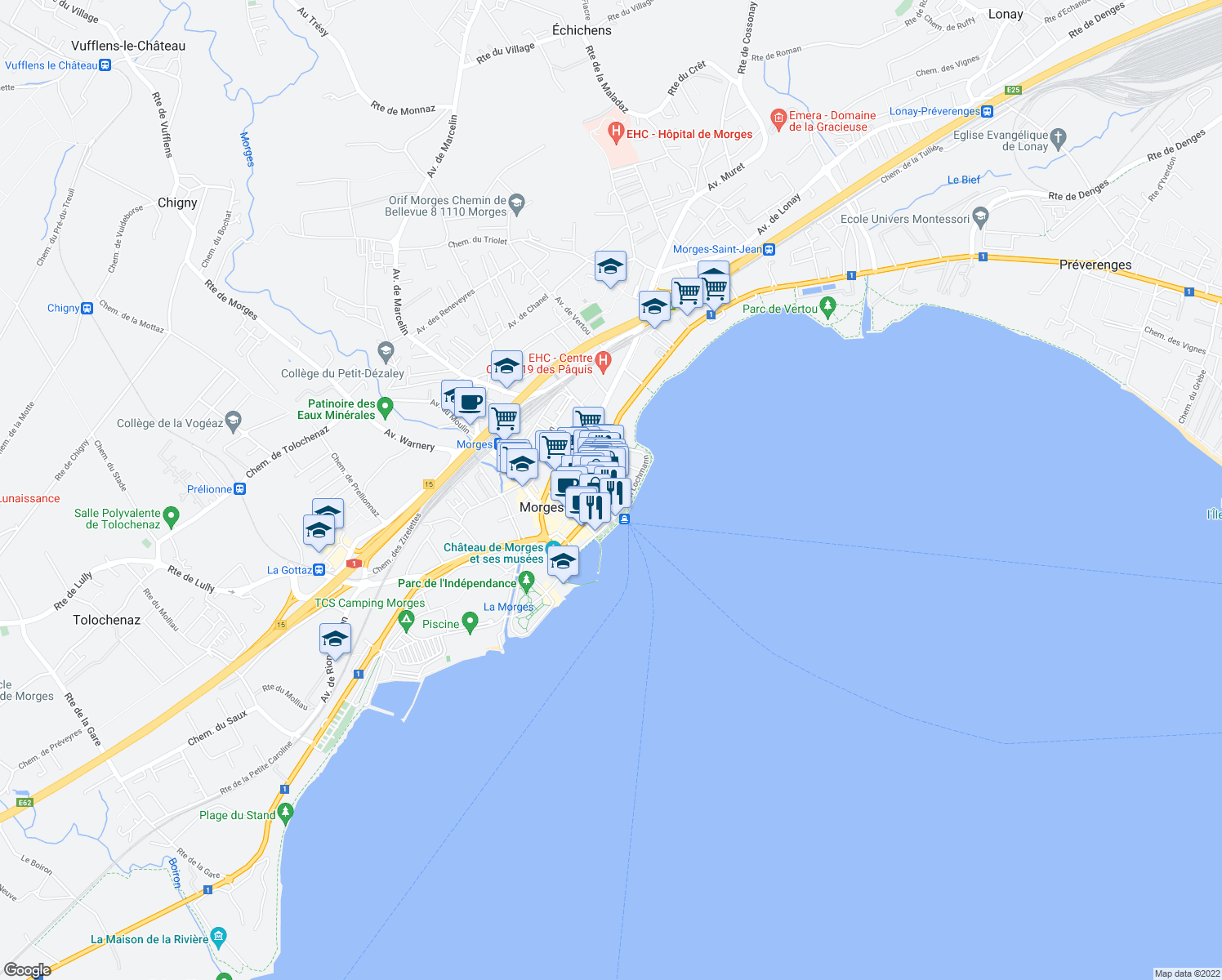 map of restaurants, bars, coffee shops, grocery stores, and more near 21 Rue Louis de Savoie in Morges