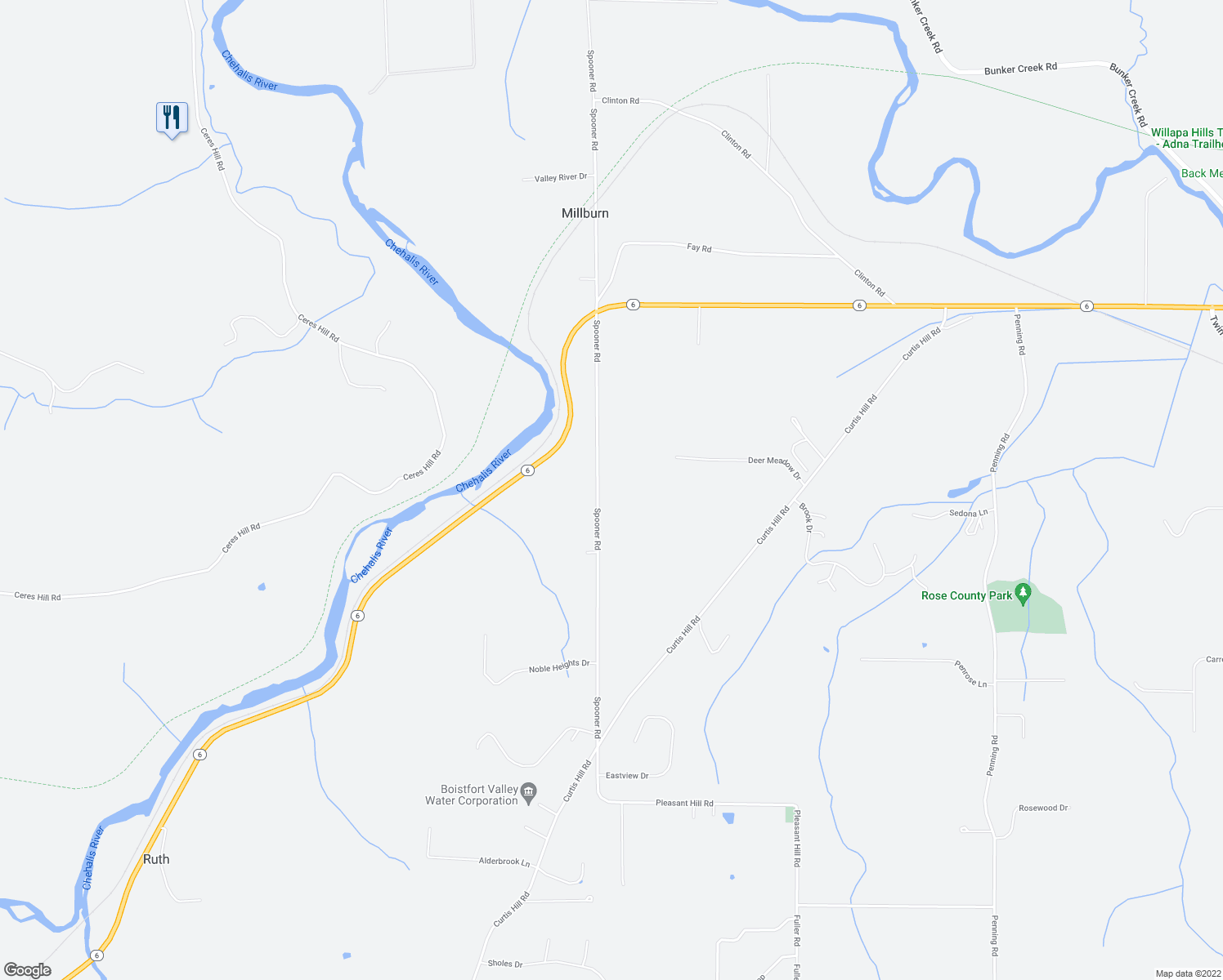 map of restaurants, bars, coffee shops, grocery stores, and more near 230 Spooner Road in Chehalis