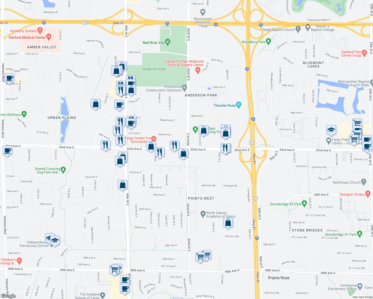 map of restaurants, bars, coffee shops, grocery stores, and more near 32nd Avenue South