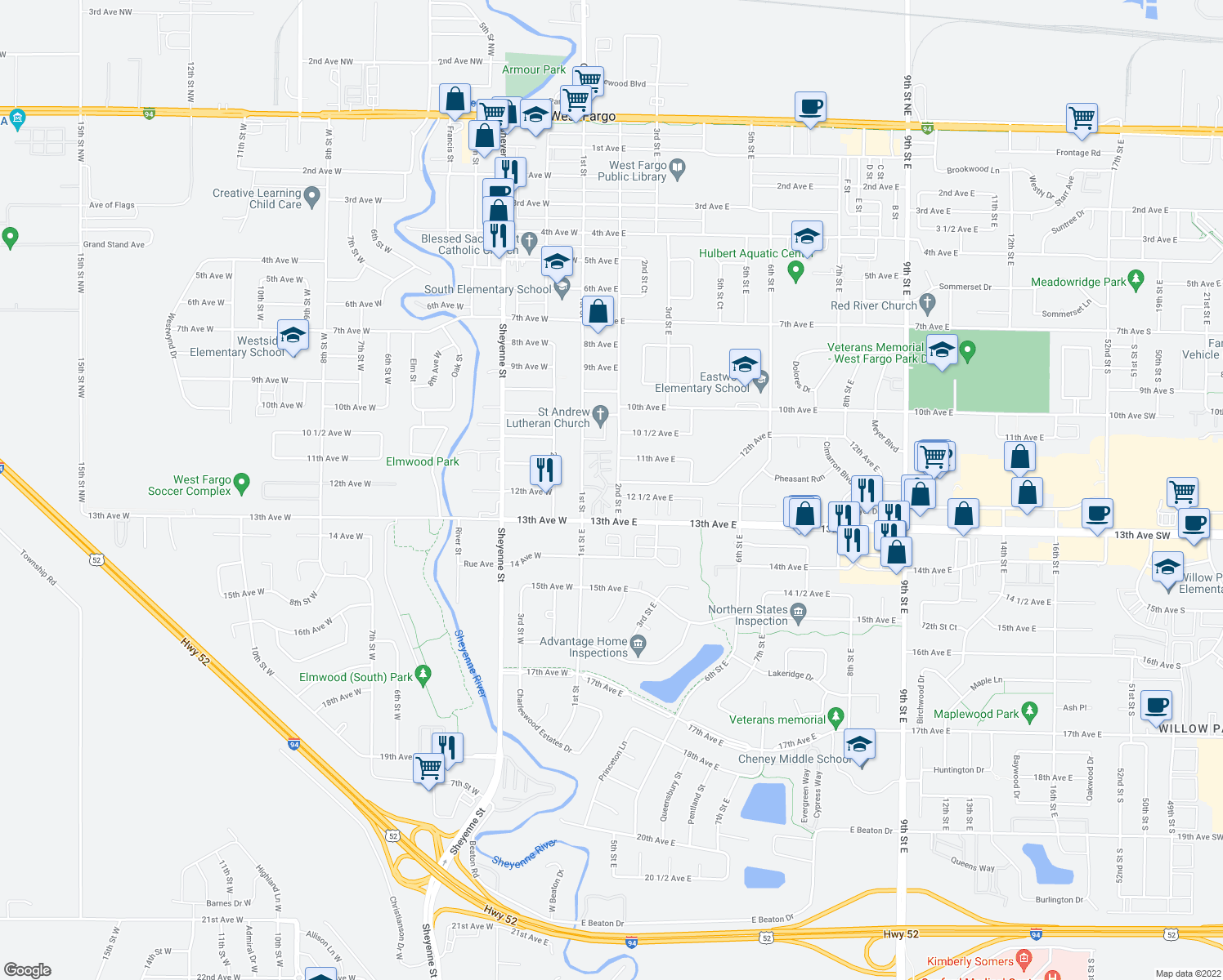 map of restaurants, bars, coffee shops, grocery stores, and more near 1150 2nd Street East in West Fargo