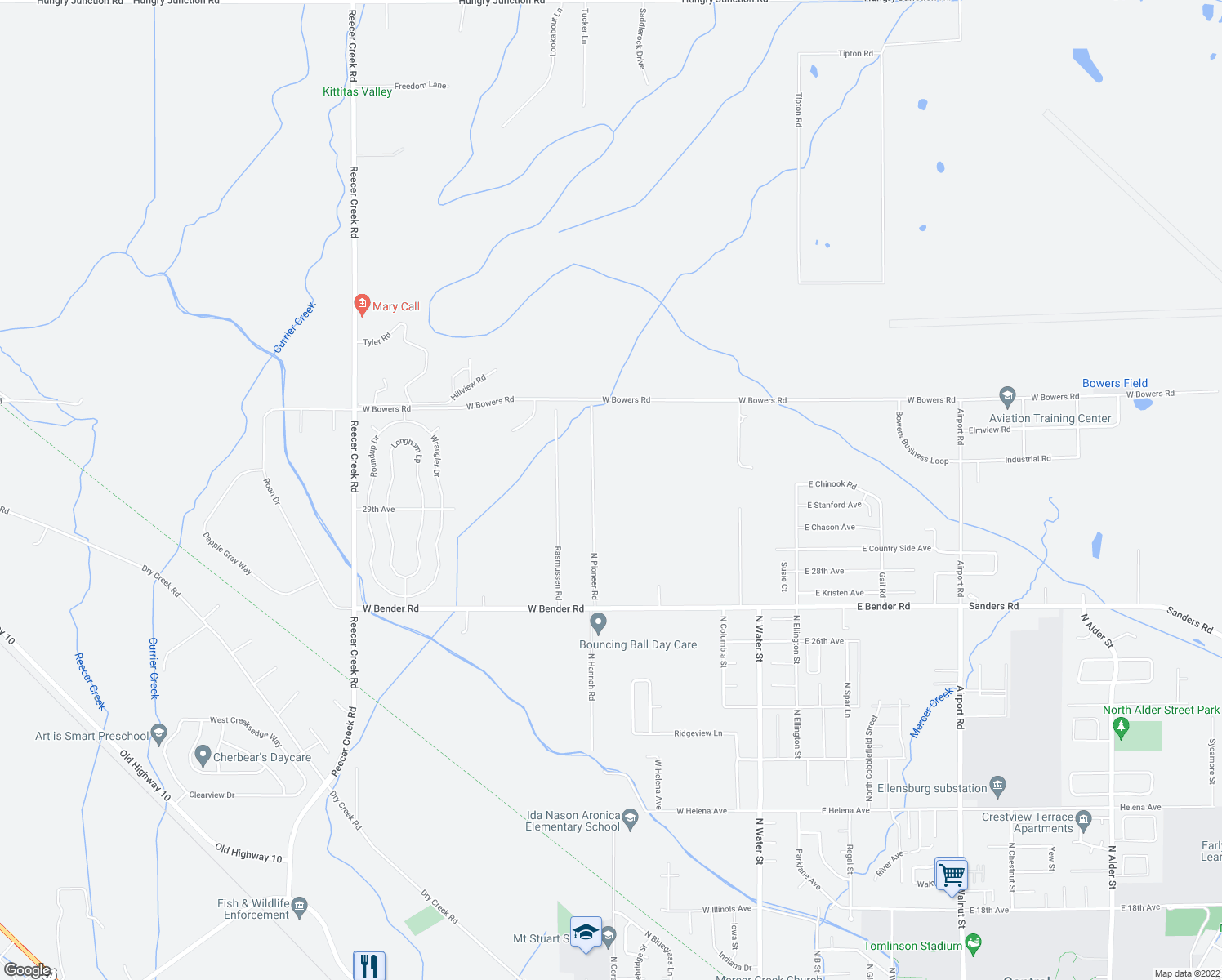 map of restaurants, bars, coffee shops, grocery stores, and more near 2916 N Pioneer Rd in Ellensburg