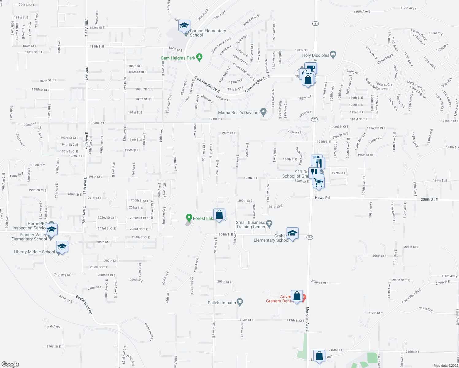 map of restaurants, bars, coffee shops, grocery stores, and more near 9226 198th Street Court East in Graham