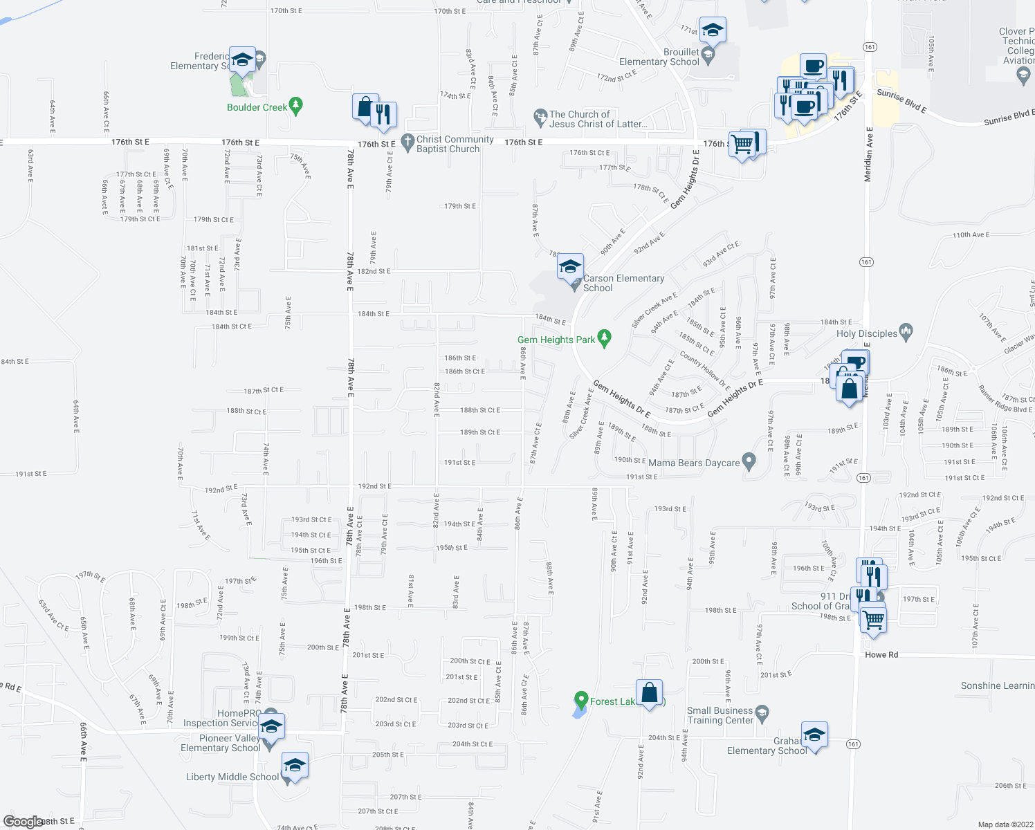 map of restaurants, bars, coffee shops, grocery stores, and more near 8518 188th Street Court East in Puyallup