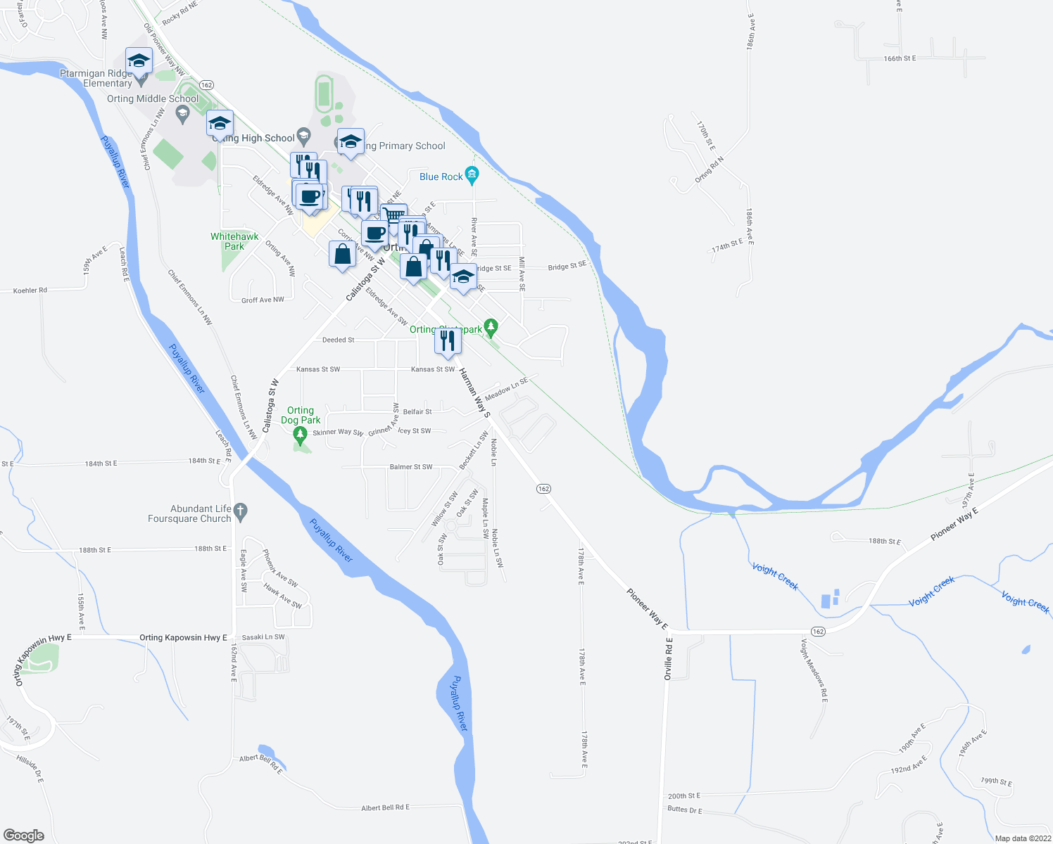 map of restaurants, bars, coffee shops, grocery stores, and more near 836 Harman Way South in Orting