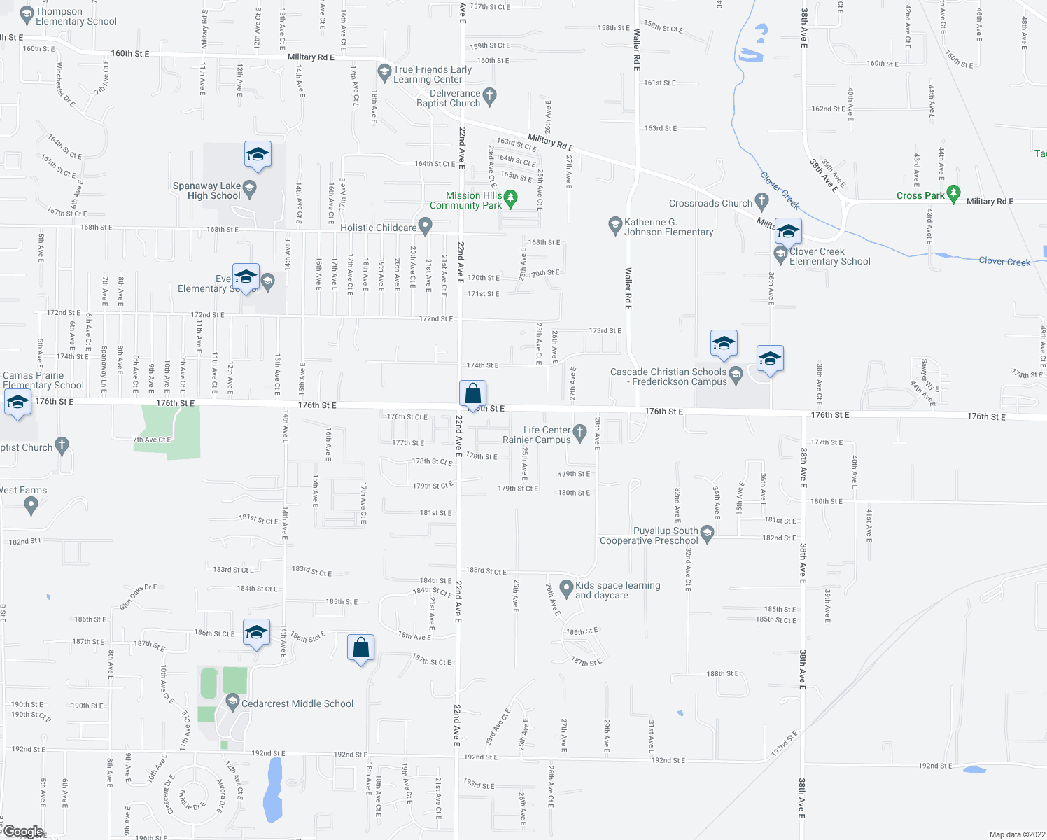 map of restaurants, bars, coffee shops, grocery stores, and more near 176TH East E Street in Tacoma